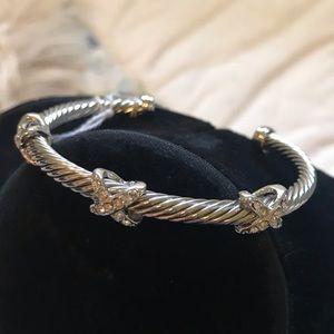 Silver Bracelet Bangle with CZ Pave X
